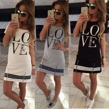 Show details for Summer Casual Fashion Women Letter Print O Neck Short Sleeve dress