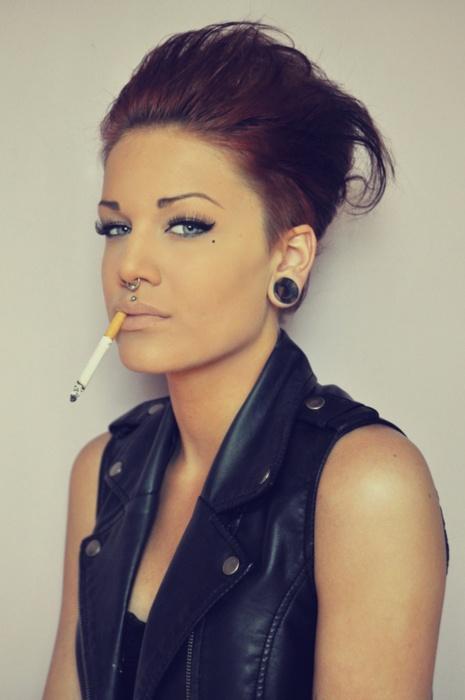 punk grunge cigarette leather badass plugs red hair fierce