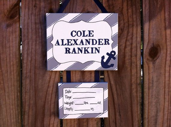 Nautical, anchor, navy and gray baby hospital door sign, nursery door hanger, personalized, name sign, hospital door decoration  on Etsy, $35.00