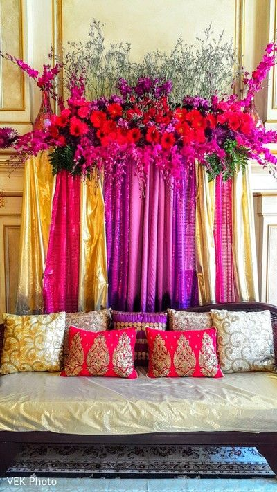 Lovely mehndi party decoration. http://www.maharaniweddings.com/gallery/photo/84769