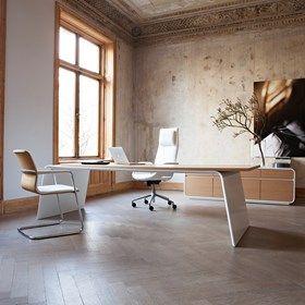 Senor est une gamme de mobilier de direction exclusive et représentative de Martin Stoll composée de bureaux, de tables de réunion et de rangements. La caractéristique la plus remarquable de cette gamme est son design épuré, avec des lignes et des courbes qui transmettent un sentiment de quiétude et de clarté. #kinnarps #martinstoll
