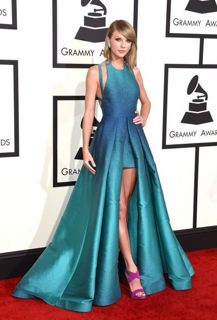 2015 Grammy Awards: Taylor Swift in Elie Saab with Lorraine Schwartz jewelry and Guiseppe Zanotti shoes.