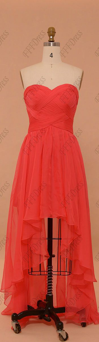 Coral high low prom dresses sweetheart chiffon pageant dresses sweetheart evening dresses