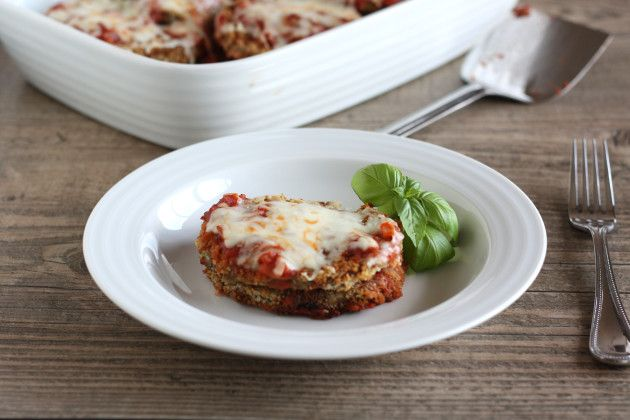 Baked Eggplant Parmesan: Get the Fried Crunch Without the Fat.  this eggplant parmesan is fantastic!!!  i found that i didn't need as much flour or as much bread crumb mixture as called for (about half as much)