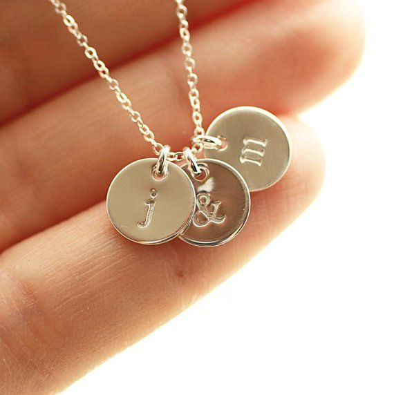 Sterling Silver Initial Disc Necklace Personalized Jewelry