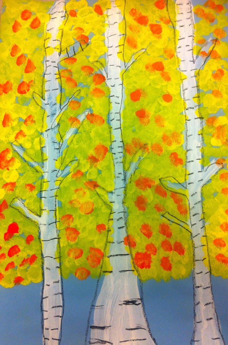 2nd grade Birch trees with white tempera and black crayon by Art: Expression of Imagination