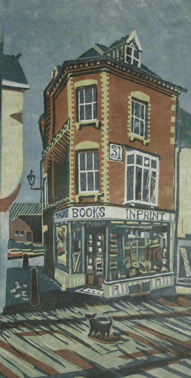 """The Bookshop"" by Steven Hubbard (4 Block Lino Print)"