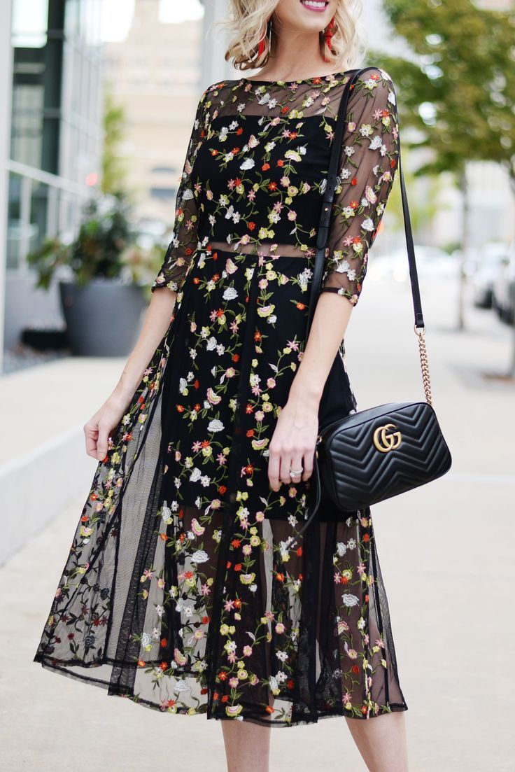 The Perfect Fall Cocktail Dress Straight A Style Fall Cocktail Dress Sheer Embroidered Dress Floral Cocktail Dress [ 1103 x 736 Pixel ]