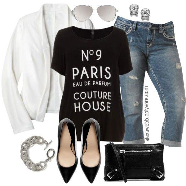 "#plus #size #fashion ""Plus Size - White Blazer"" by alexawebb on Polyvore"