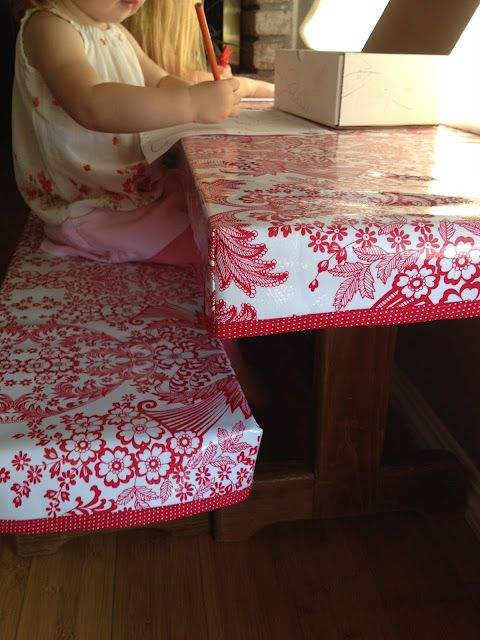 fitted oilcloth tablecover, I so need this for our kitchen table.