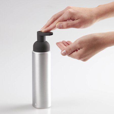 InterDesign Metro Rust Proof Aluminum Foaming Soap Dispenser Pump, Brushed/Matte Charcoal, Black