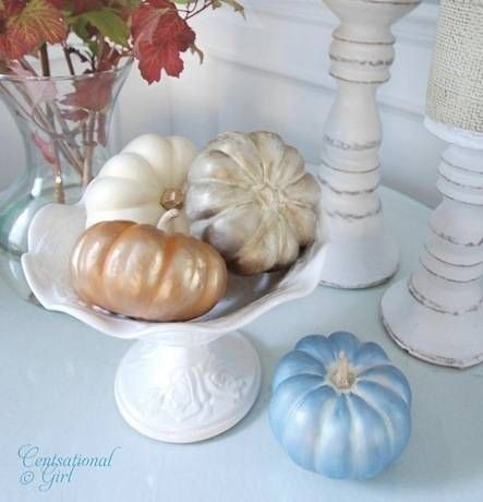 Rub 'n Buff is used to paint these cute pumpkins ~ no need to spray paint or bring out brushes for craft paint.  I