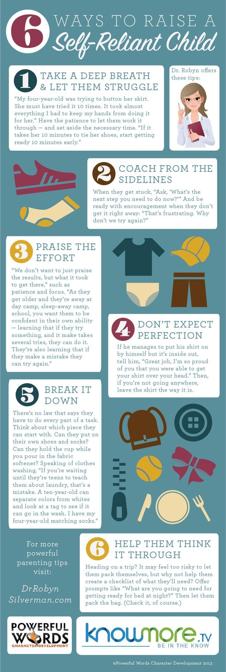 How to raise a self reliant child - Click for the article at @KnowMore TV and for more #Parenting tips visit www.drrobynsilver... #Infographic knowmore.tv/...