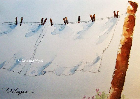Watercolor Painting Laundry Day Wash Day Country Clothesline White Sheets Print
