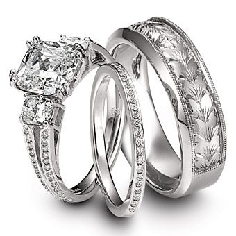 love the hers ring set, but the his ring is a little frou frou
