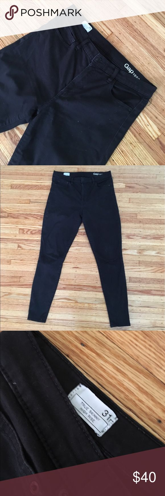 Black legging Jean GAP size 31 Great basic legging jeans by GAP. Women's size 31. Super skinny and high rise! These fit me great and I am usually a 31-32 (12-14) in pants. They look great cuffed with sneakers or with booties and a nice tunic. Great all seasons staple. GAP Pants