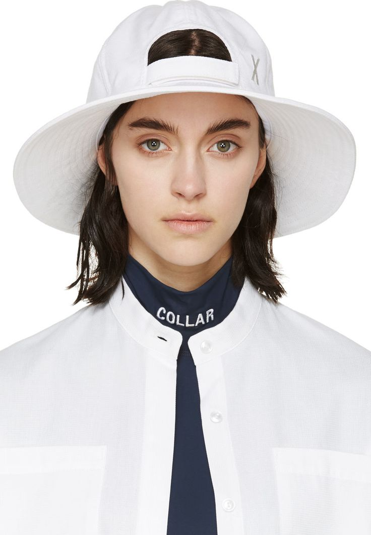 Mm6 Maison Margiela: White Canvas Large Brimmed Cap