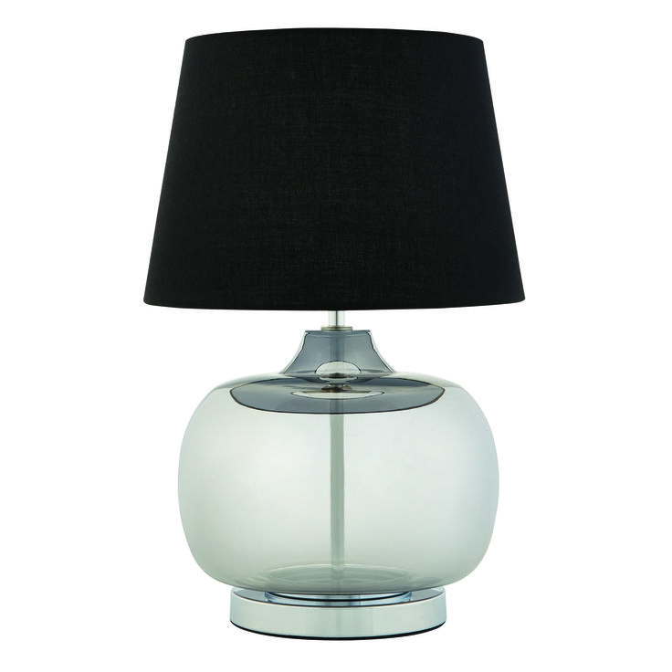 The combination of transparent glass and metal topped off with a black Mix n' Match shade, gives the Mars Table Lamp the edge on contemporary style.  Base, $50 shade $30.