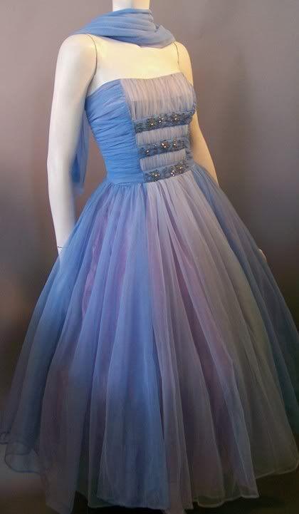 1950s ombre blue chiffon party dress, Dorothea's Closet Vintage archives