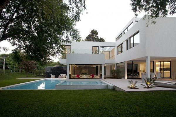 house made of glass swimming pool backyard