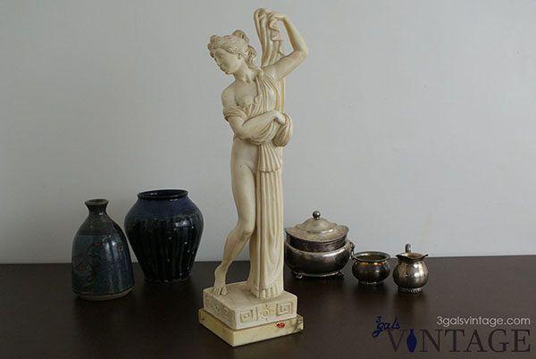 Vintage Italian L Toni Alabaster Sculpture / Figurine, Semi-Nude Woman with Robe. $95.00