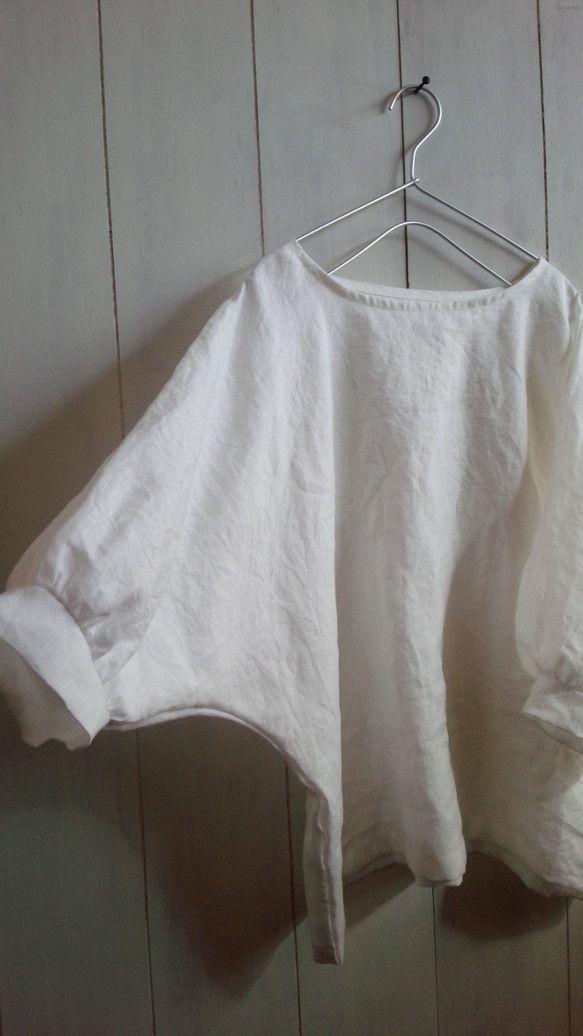 ホワイトリネンパフスリーブブラウス|シャツ・ブラウス|itobun|ハンドメイド通販・販売のCreema
