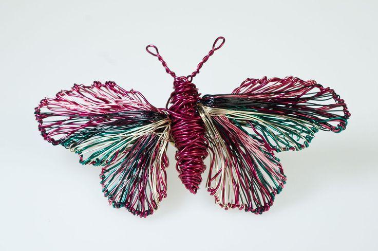 Wire sculpture art butterfly brooch,unusual wire butterflies brooch jewelry,unique art to wear creative sculptural jewelry butterfly brooch. - pinned by pin4etsy.com