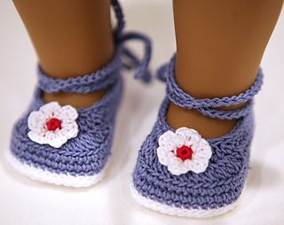 Crochet pattern for cute American Girl Doll shoes with wrap around straps