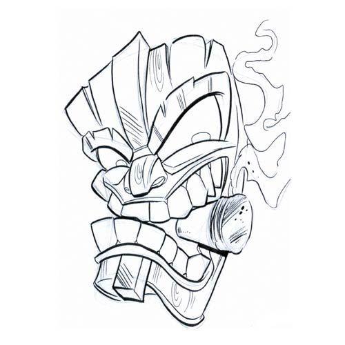 tiki hut drawing - Google Search