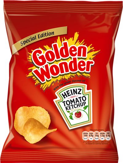 Golden Wonder Heinz Tomato Ketchup chips (or crisps, as the case may be)
