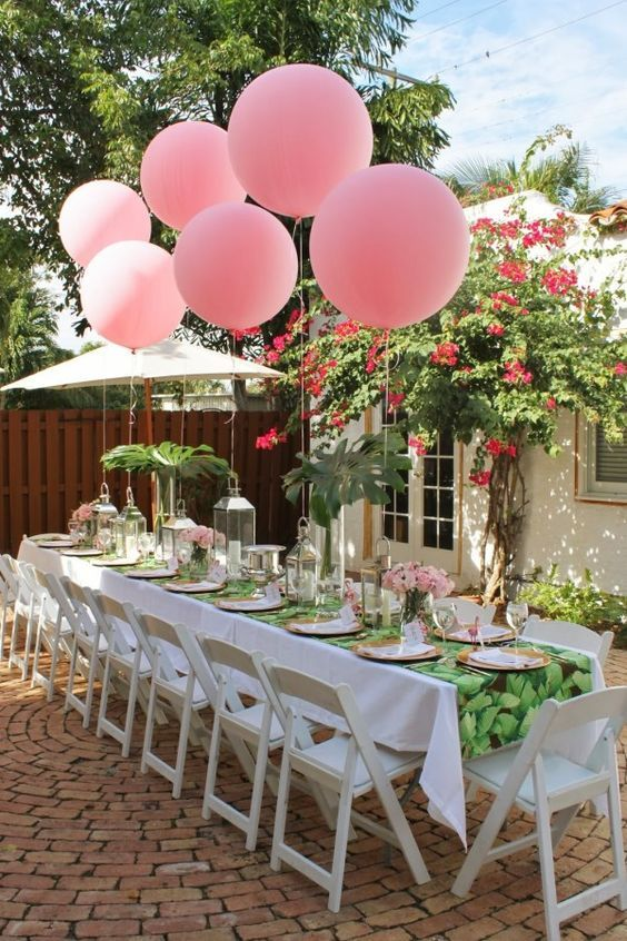 Hot Pink Tropical Bridal Shower Table Decor / http://www.deerpearlflowers.com/tropical-bridal-shower-ideas/