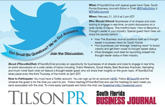 Successful first chat with South Florida Business Journal Editor in Chief Kevin Gale! Join the discussion @TilsonPr!