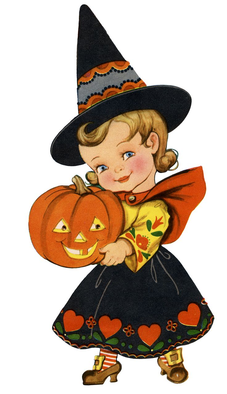 Retro Halloween Girl Image a sweet little girl wearing a Witch Costume and holding a happy looking Jack-O-Lantern Pumpkin. I love the little Pennsylvania Dutch designs on her costume. This one was scanned from a 1951 Coloring Book cover.  So nice to use in your Halloween Designs, Crafts or Collage Projects!