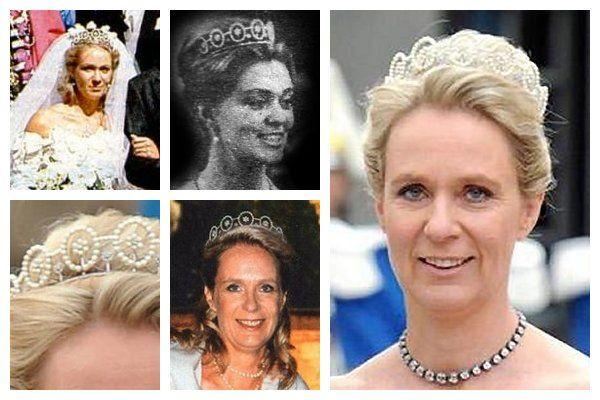 Pearl Koło Tiara.  Ten diadem, wykonane z kręgów pereł z perłowymi kwiaty w małych centrach, był król Gustaf kawałek VI Adolf nadał księżnej Birgitta kiedy poślubiła księcia Johanna George Hohenzollernów w 1961 roku dała kawałek jej jedyną córkę, księżniczka Desiree, który nosił diadem na jej pierwszy ślub.  To także tiara wybrała nosić na ślub kuzynki Księżniczka Victoria Crown, w 2010 roku.