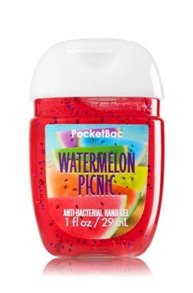 Watermelon Picnic - PocketBac Sanitizing Hand Gel - Bath & Body Works - Now with more happy! NEW PocketBac is perfectly shaped for pockets & purses, making it easy to fight germs on-the-go! Plus, our all-new skin softening formula contains powerful germ-killers that keep your hands clean & soft.