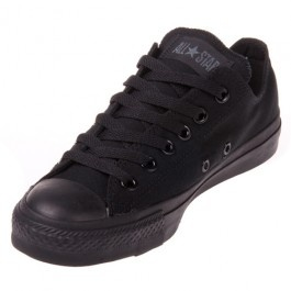 The Converse Chuck Taylor All Star Black Monochrome Low Top in classic black brings style to any outfit! This low-cut shoe is sturdy and comfortable, rockin' a canvas upper, rubber outsole and vulcanized construction.