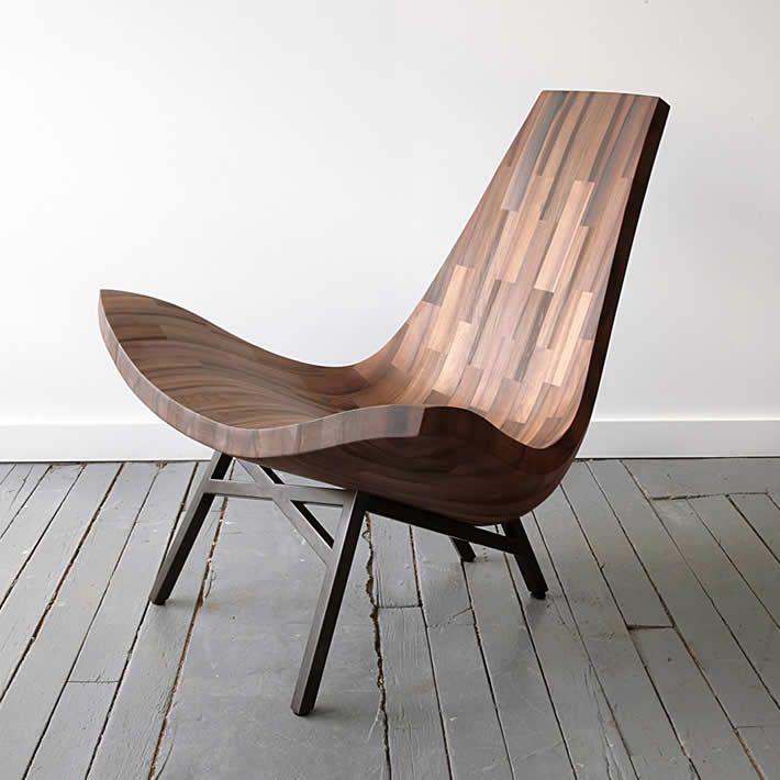 New York based furniture studio BELLBOY created a stunning upcycle design chair made out reclaimed wood from an original NYC water tower.