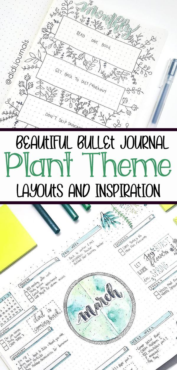 Looking to create beautiful plant doodles and green art in your bullet journal? These fun bullet journal layouts are perfect for a plant theme! Find inspirational bullet journal spreads for weekly layouts, cover pages, and more!
