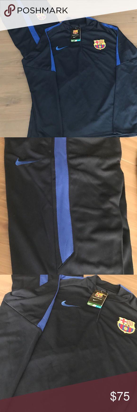 Barcelona training jacket and pants soccer Nike Barcelona men training jacket and pants soccer Nike 16/17 season Blue Nike Shirts Tees - Long Sleeve