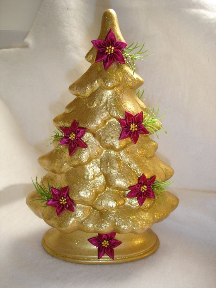 Gold christmas tree burgundy flowers tabletop hand painted for Maroon christmas tree decorations