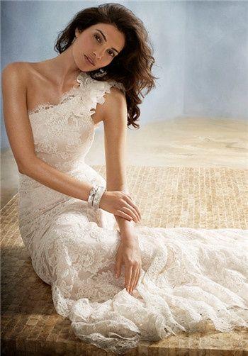 Lace, one shoulder wedding dress