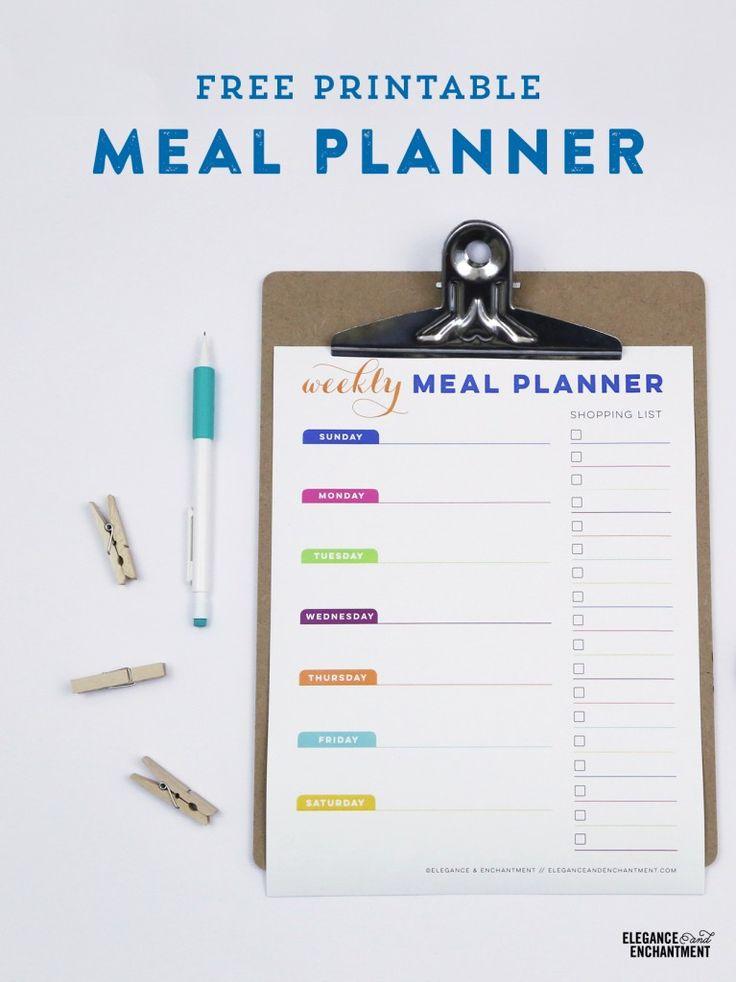 Get organized and inspired to meal plan by downloading this free printable planner from Elegance & Enchantment