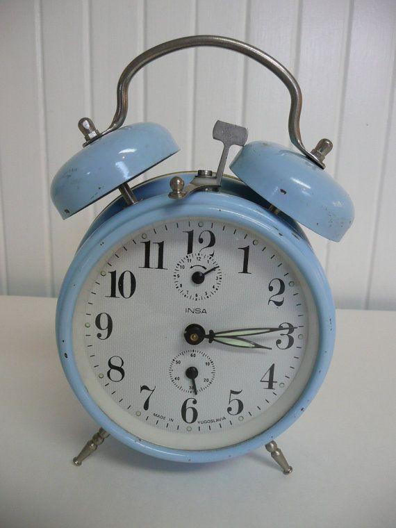 1960s Twin Bells Baby Blue Alarm Clock, Made in Yugoslavia, Wind Up Alarm