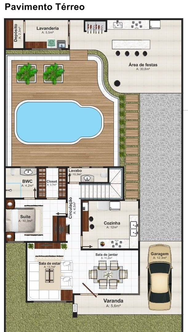 Projeto arquitet nico sobrado bras lia c d 204 r for Planos de piscinas pequenas
