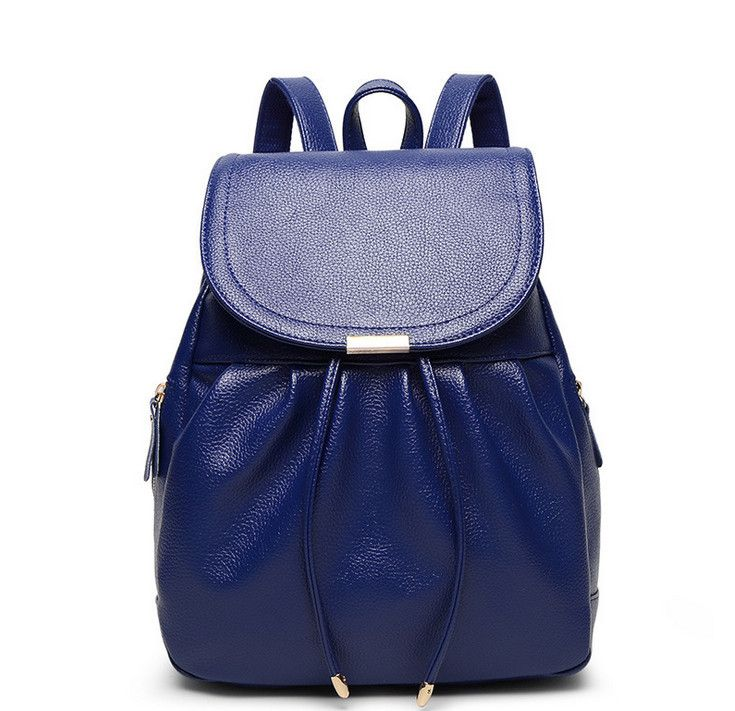 Lovely Elegant Solid-Colored Ladies Fashion Design Genuine Leather Backpack 5 Colors