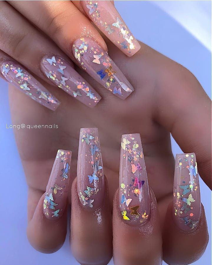 Dailycharme On Instagram These Butterfly Nails Are Everything Nails By Queennailsetob In 2020 Encapsulated Nails Holographic Nails Acrylic Summer Acrylic Nails