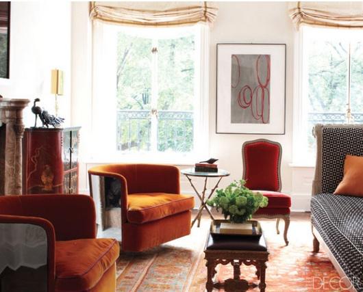Burnt orange velvet chair living room pinterest - Orange living room chair ...