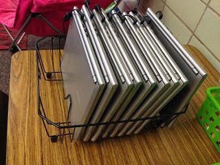 Organize classroom laptops in a dish rack from Trendy Tales of a Teacher http://trendytalesofateacher.blogspot.com/