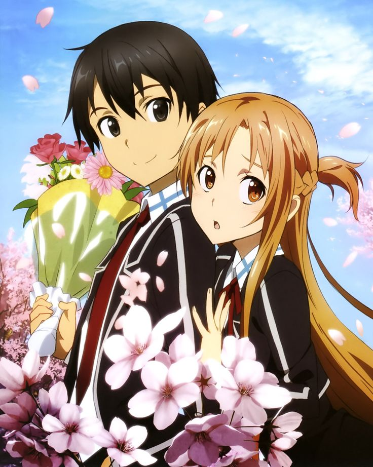 Kirito and Asuna wearing school uniform. -- SAO, Sword Art Online, flowers, cute anime couple relationship