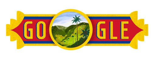 Colombia National Day 2016  Date: July 20 2016  Tucked within the Andes lies a valley from another world.  Impossibly lush with Quindío wax palm trees soaring above colorful fauna the Cocora Valley is a Colombian national treasure. And fittingly its namesake is a indigenous princess Cocora  born to a local Quimbayan chief centuries ago.  Todays doodle celebrates Colombia National Day and the diversity of Colombias people symbolized by the mix of nature and wildlife that populate the magical…